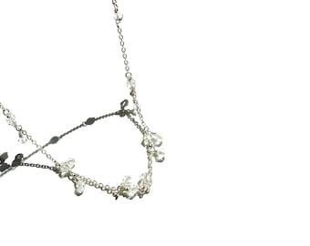 Swarovski Crystals, Beaded Necklace, Silver Plated Necklace, Swarovski Necklace, Minimal Necklace, Bridesmaid Necklace, Bridesmaid Jewelry