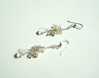 Dainty, Pearl Earrings, Sterling Silver Earrings, Fresh Water Pearls, Moonstone, Crystal Quartz, Sterling Silver 925, Swarovski Crystals