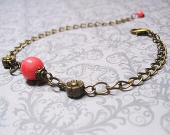Coral Bracelet Pink Coral Bracelet Minimalist Bracelet Delicate Bracelet Dainty Bracelet Vintage Bracelet Gemstone Beaded Bracelet