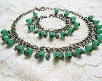 Aventurine Jewelry Aventurine Necklace Ethnic Bracelet Romantic Jewelry Vintage Jewelry Wedding Jewelry Christmas Gifts FREE SHIPPING