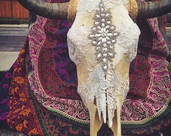 """Custom """"Lady in Lace"""" Bull Skull"""