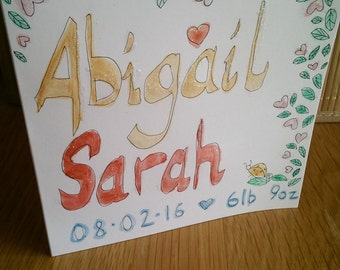 Personalised hand painted cards for new born babies name date weight