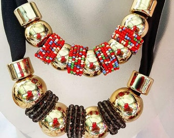 Gold Plated Collar with Shakira Rocks different colors available.