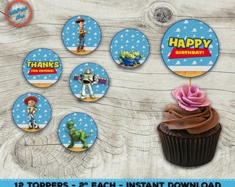 """Toy Story cupcake toppers! Toy Story toppers, Tory Story cupcake, Toy Story party supplies. Each topper is 2""""!"""