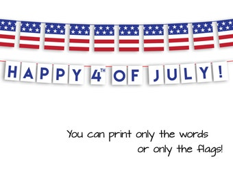 Happy 4th of July Garland - July 4th Banner - July 4th  Decor