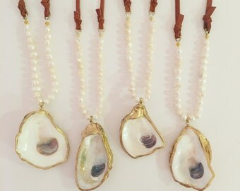 Pearl and leather oyster shell necklace