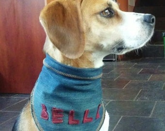 Custom made denim bandanas for dogs