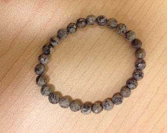 light gray marble beaded bracelet