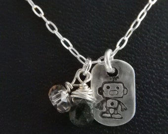 Hand Stamped Sterling Silver Square Robot Charm Necklace with gemstones