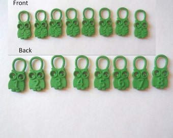 Hedwig - Green  Numbered Owl Stitch Markers in 3D Printed Plastic