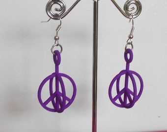 Purple 3D Printed Peace Symbol Earrings
