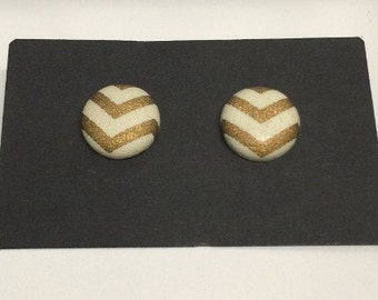 Gold & Cream Chevron Fabric Covered Stud Earrings