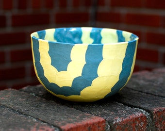 Ceramic Soup Bowl- Blue and Yellow