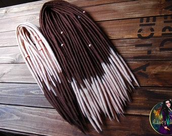 Set of wool double ended dreads DE dreads accent dreads handmade felt brown and peach color