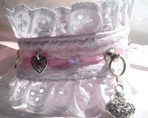 BDSM Day Collar,Wedding/Collaring Ceremony,Beautiful White Broidaise Anglais,Lace,Crystals,Charms,ribbons,Story of O ring, submissive/slave