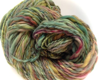 """Hand Spun Thick and Thin Yarn """"Aurora Borealis"""" 160 yards 100% Merino Wool"""
