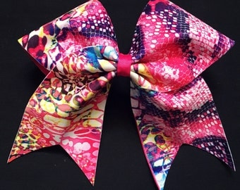 Pink Bubble / Snake-skin Effect Bow - Free UK P&P!