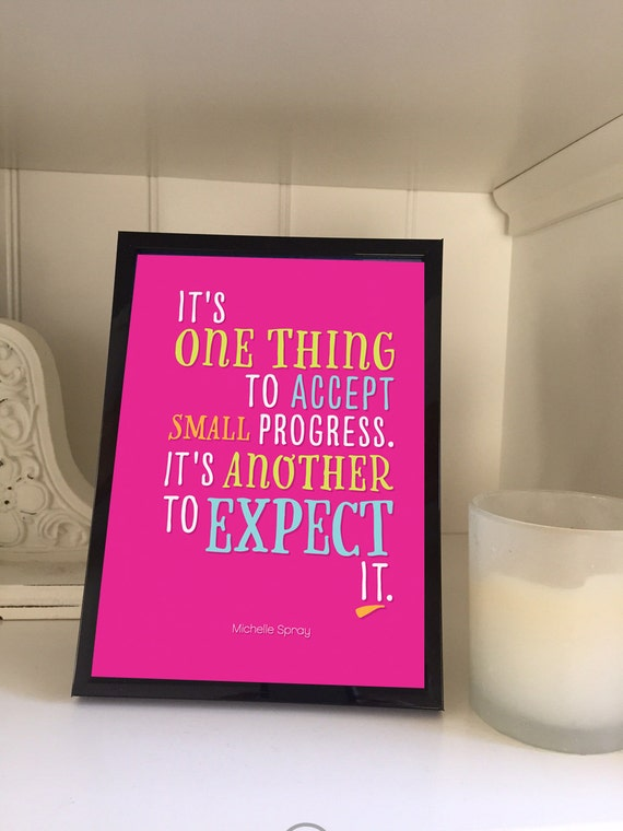 Small progress quote print 5x7, WITH 5x7 black frame, art quote, expect progress quote, quote in frame, gifts under 15, small progress