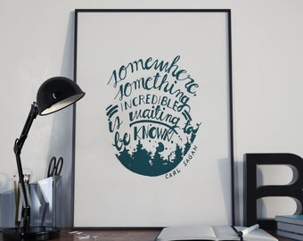 Carl Sagan Quote Typography, Handlettering,  Carl Sagan Quote, Poster, A4 Printable, Artwork, Lettering