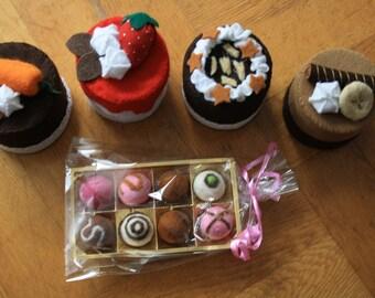 Felt chocolates and felt cupcakes
