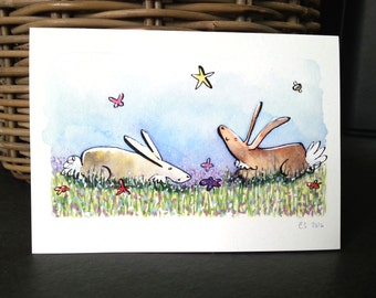 Bunny Greetings Card, Quirky Bunny Card, Greetings Card, Blank Greetings Card, Quirky Rabbit Card, Animal Lovers Card, Spring Bunnys,