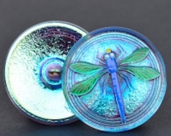 Czech Glass Button - Glass Dragonfly Button - Aqua Iridescent with Blue and Green Painted Dragonfly Button - 30mm Button
