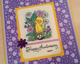 Anniversary Card, Handmade, Suzy Zoo, Unique