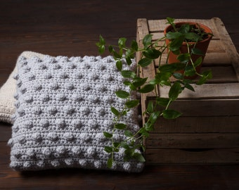 Gray crochet wool pillow-Cushion cover, crochet, crochet pillow, decorative pillow