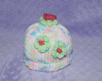 Baby Hat with Flowers