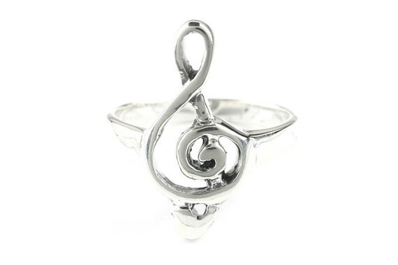 Treble Clef Ring, Sterling Silver Music Note Ring, 925, Musical, Musician, Boho, Gypsy, Festival Jewelry,