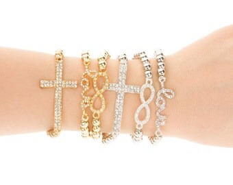 Love - infinity - cross bracelet in gold and silver