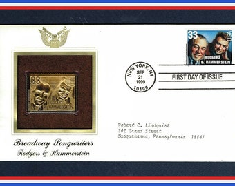 Rodgers and Hammerstein - 22K Gold Finished Stamp on First Day of Issue Cover