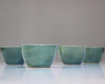 Stoneware Ceramic Cup. Ceramic Cup Green. Tea Service, Coffee Cup Green. Handmade Stoneware Pottery. Tea Set Green