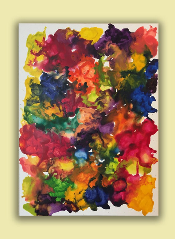 Colorful abstarct style painting with melted crayons on canvas 18x24