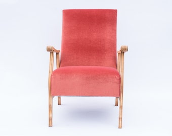 60s Modernist Lounge Chair Newly Upholstered in Rose Ash Pink Velvet