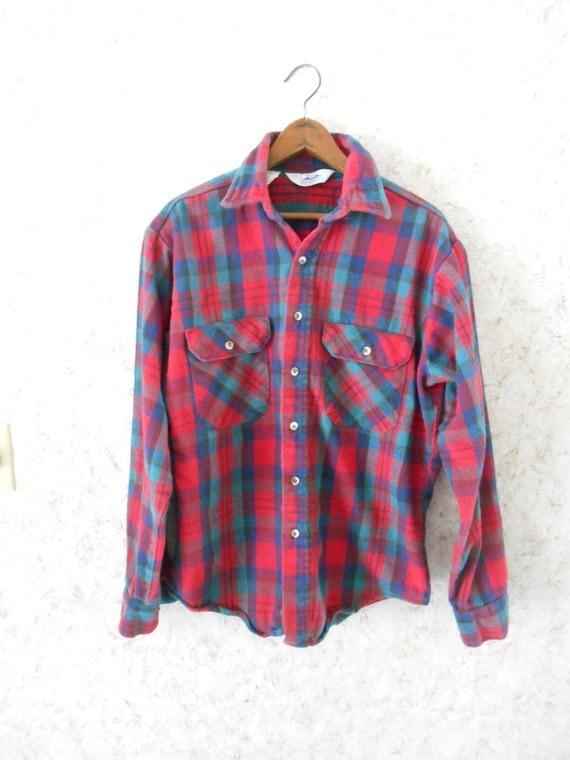 Vtg 70s plaid cotton flannel shirt dakota heavy weight red for Heavy plaid flannel shirt