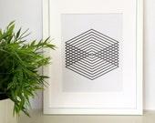 Geometric Art Print, Blac...