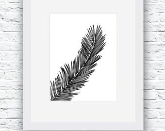 Palm Leaf Print, Leaf Print, Palm Leaf Art, Printable home decor, Black and White, Leaf Wall Art, Modern Minimal, Minimal Decor