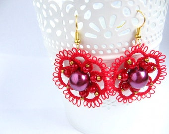 RED ROSETTES lace earrings tatting Ankars earrings purple glass red LACE tatted delicate lace chiacchierino frivolite gift for yourself
