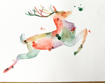 Reindeer Christmas watercolor, Christmas watercolor, Christmas decor