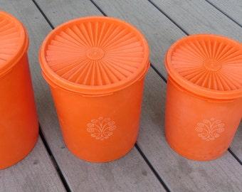 Vintage Orange Tupperware Storage Set With Design on Front