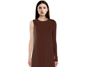 Asymmetrical One Sleeve Jersey Dress / One Shoulder Long Sleeve Dress / Asymmetrical Dress / Party Dress / Navy Dress / Camel Dress / Brown