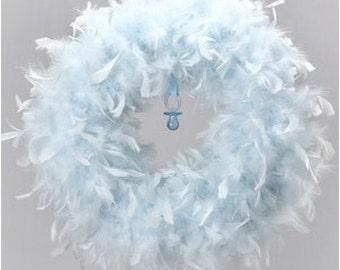 Quality Baby Blue Feather Wreath - Angel Wreaths