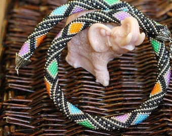bead crochet jewelry Beaded tow Bead Crochet Necklace gift for women Beaded harness Bead Crochet Rope Beaded handmade jewelry Modern jewelry