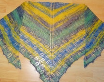 soft lace cloth in the gradient blue, green, grey, yellow, hand knitted