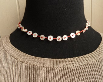 Bright Red choker with small vintage shell buttons