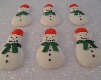 Christmas Cupcake Cake Decorations - 6 large Edible Christmas Snowmen