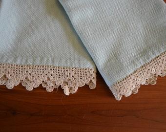Pair of lovely vintage crocheted edge tea towel, robins egg blue
