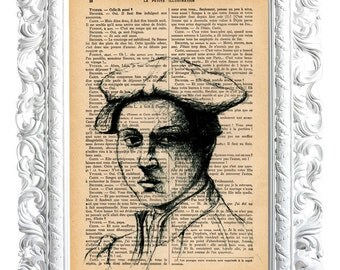 Young man looking. Print on French publication of illustration. 28x19cm.
