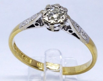 1960s Diamond Solitaire Ring   Size P (UK) 8.75 (US)   Free Sizing / Shipping